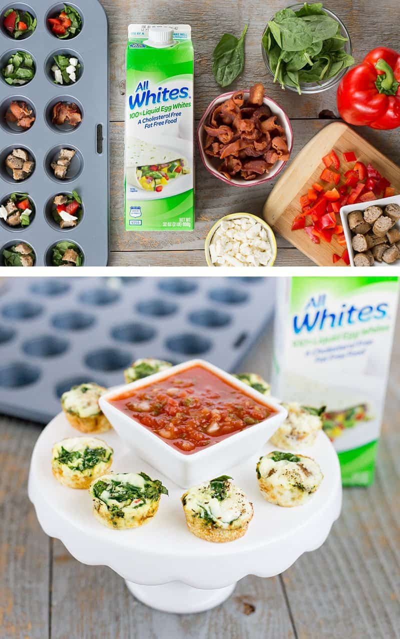 Your brunch just got a whole lot better with these mini egg white frittatas *Love the idea of guest being able to individually pick the ingredients. Perfect for a holiday breakfast because you could make a variety ahead of time too if you want.