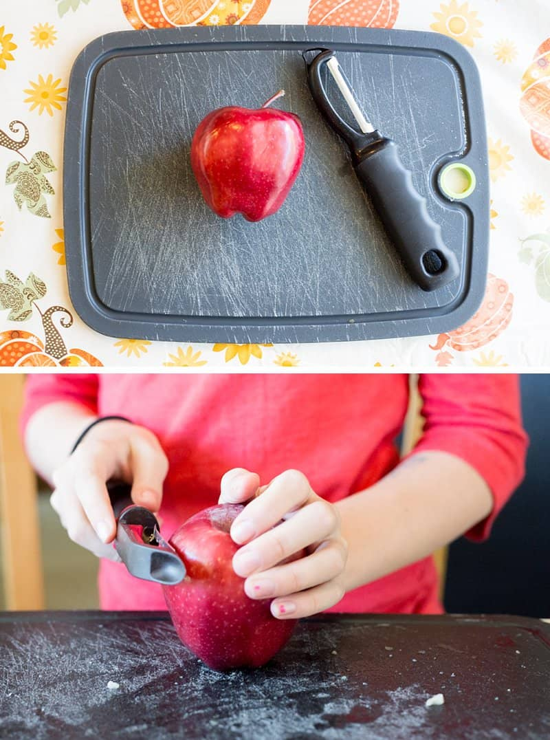 How to Carve Apples and Make Awesome Shrunken Heads - To get started you'll need apples, lemon juice and salt! *These turned out so cool. What an awesome art project. Such a cool DIY Halloween decoration for kids to work on.