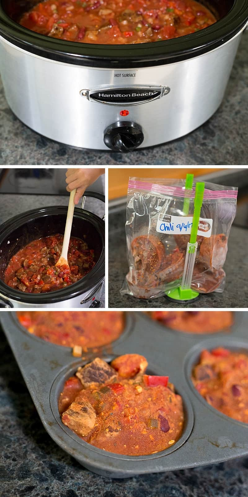 Best chili EVER! This slow cooker recipe is so SIMPLE to make and perfect for FREEZING into single sized servings. You can use ground beef, steak or go vegetarian. *This is one of my go-to dinners that the whole family loves. Perfect comfort food.