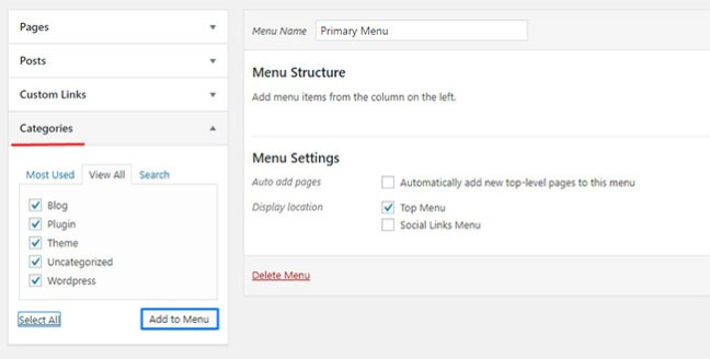 How to create and add a navigation menu in WordPress -10