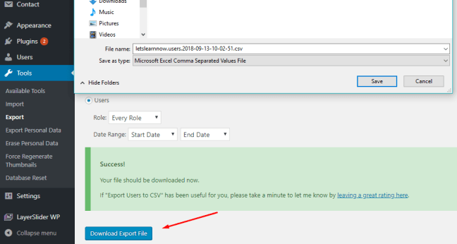 How to Export WordPress Users Data to a CSV File (3)