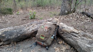 When you're camping in non-designated sites, you're limited to what you can carry. I like to pack light, so for one or two nights, this might be all Wade carries.
