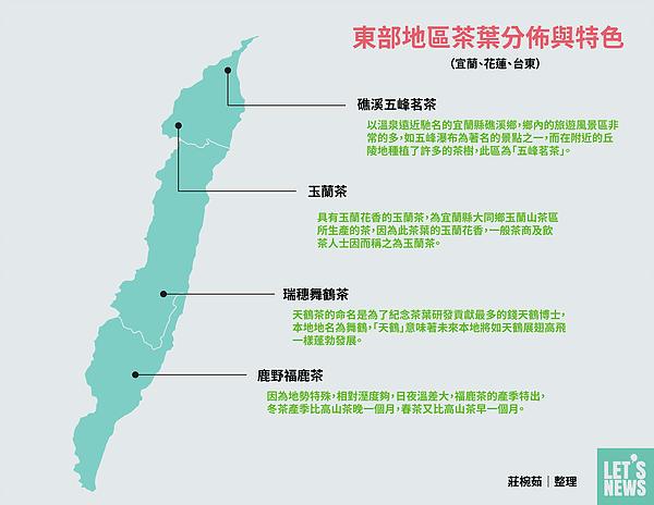 圖片說明/東部地區茶葉的分佈、特色與名稱由來。