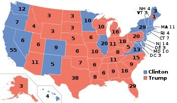 圖為二零一六年民主黨(藍)與共和黨(紅)於各州所拿下的選舉人票。