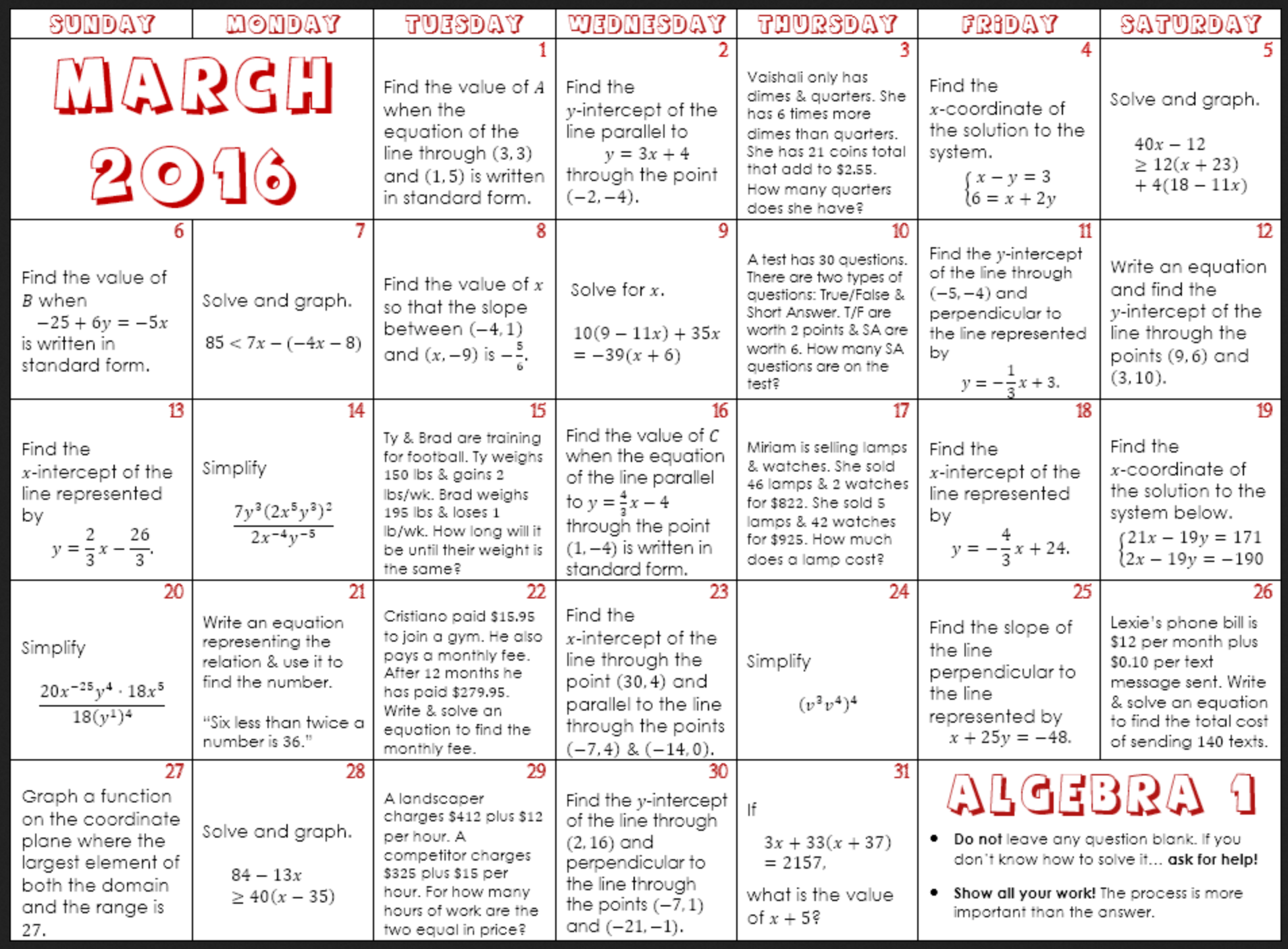 March Math Calendars Denise Gaskins Let S Play Math