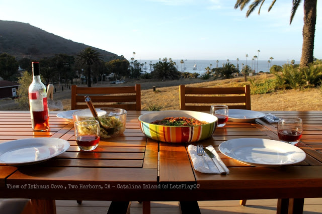 Dining with a view of Isthmus Cove, Two Harbors, California
