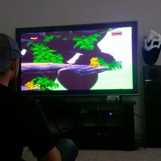 "SNES Classic on 60"" TV"