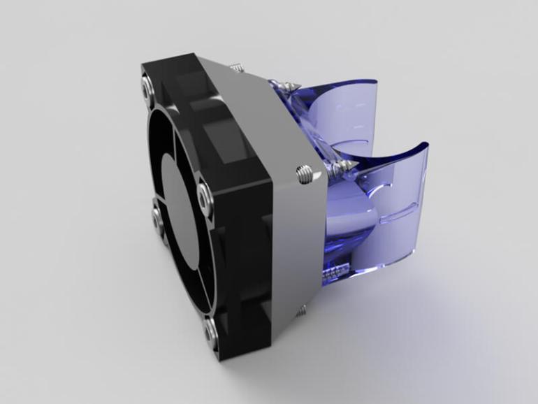 E3D V6 30mm to 40mm Fan Adapter Assembled