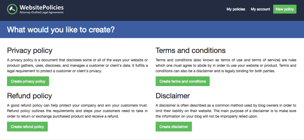 how to create privacy policy for website