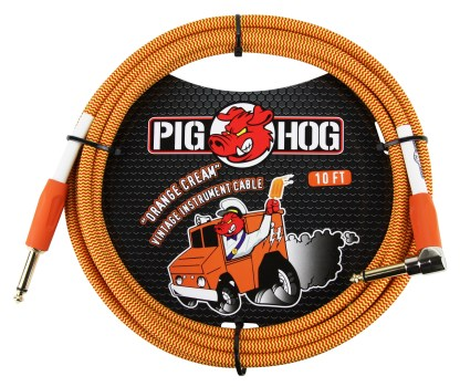 """Pig Hog 10ft x 8mm Vintage Series """"Orange Cream"""" Instrument Cable, 1/4"""" Right Angle Connector"""