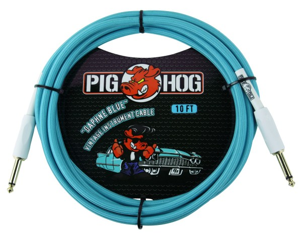 "Pig Hog 10ft x 8mm Vintage Series ""Daphne Blue"" Instrument Cable"