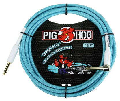 """Pig Hog 10ft x 8mm Vintage Series """"Daphne Blue"""" Instrument Cable, 1/4"""" Right Angle Connector"""