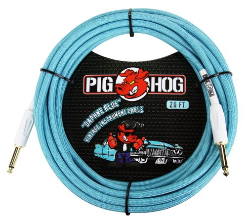 "Pig Hog 20ft x 8mm Vintage Series ""Daphne Blue"" Instrument Cable"