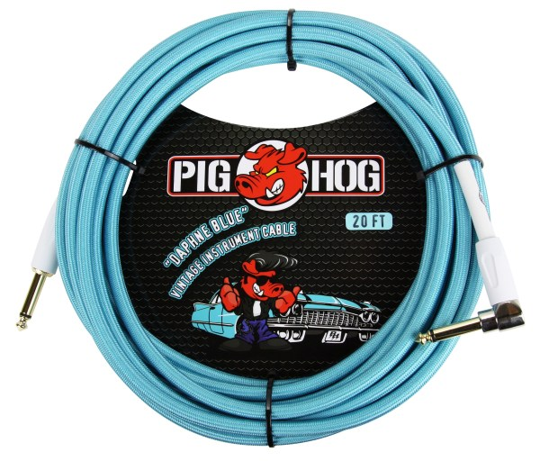 "Pig Hog 20ft x 8mm Vintage Series ""Daphne Blue"" Instrument Cable, 1/4"" Right Angle Connector"