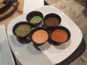 Samples of their homemade taco sauces