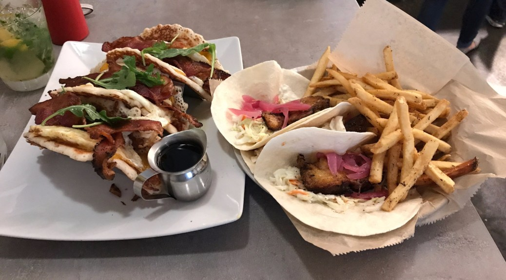 Pork belly and pancake tacos