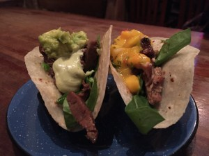 tacos with guac and lime cream