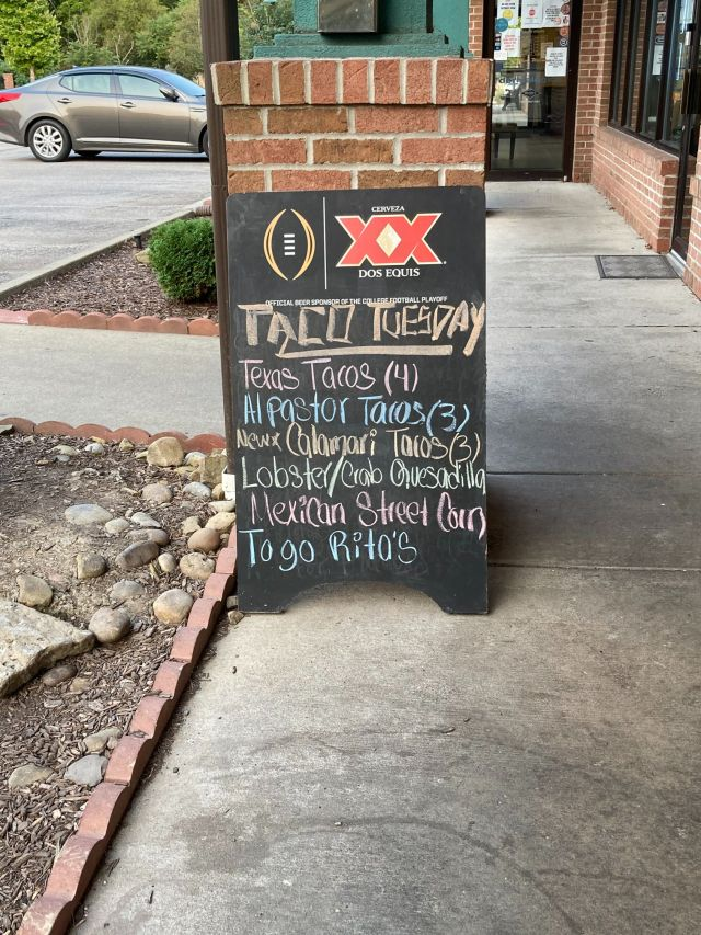 sign with taco specials