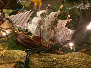 Homemade Christmas tree wreath ship ornament