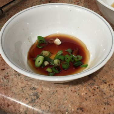 Sesame Oil, Soy sauce and Scallions