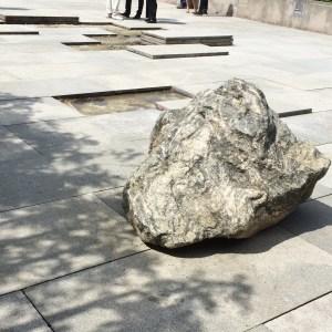 Huyghe roof garden installation, schist boulder