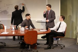L-R Michael Ray Wisely, Jason Kapoor, Mark Anderson Phillips, and Ben Euphrat, in IDEATION by Aaron Loeb, directed by Josh Costello, San Francisco Playhouse at 59E59, in Manhattan, March 2016. Photo Carol Rosegg.