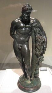 """Weary Herakles (Resting Herakles) 3rd century B.C. Hellenistic bronze from Sulmona, Italia, from the exhibit """"Pergamon and the Hellenistic Kingdoms of the Ancient World"""""""