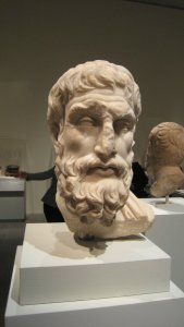 """Portrait of Epickouros, Roman marble copy of a Hellenistic original, in """"Pergamon and the Hellenistic Kingdoms of the Ancient World,"""" MMA, NYC"""