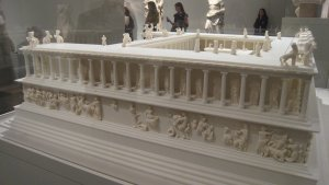 """Scale model from the side of the Great Altar of Pergamon from """"Pergamon and the Hellenistic Kingdoms of the Ancient World"""" at the Metropolitan Museum, NYC"""