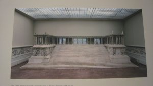 """Reconstructed west side of the Great Altar of Pergamoon as seen in the Pergamon Museum, Berlin. From """"Pergamon and the Hellenistic Kingdoms of the Ancient World"""" exhibit at the Metropolitan Museum, NYC"""