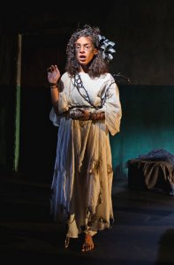 Lindsley Howard as Cassandra in Euripides' The Trojan Women at The Flea Theater, September 2016.. Photo Allison Stock.