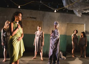 Hecuba and the women of Troy confront Helen in Euripides' The Trojan Women at the Flea Theater, September 2016,