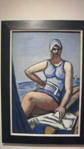 Max Beckmann, Quappi in Bllue in a Boat, 1926-1950, gouache and oil on paper and cardboard, 89.5 cmx 59 cm, private collection