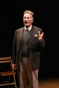 George Orwell holds forth to the American public. Jamie Horton as Orwell. Photo Carol Rosegg.