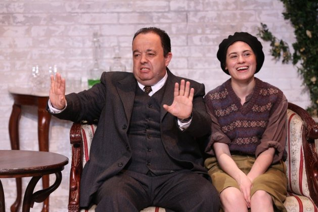 L-R Hugh Sachs as Churton Saunders and Emily Laing as Pamela. Photo Carol Rosegg. In J. B. Priestley's The Roundabout at 59E59 Theaters April 20 - may 28, 2017