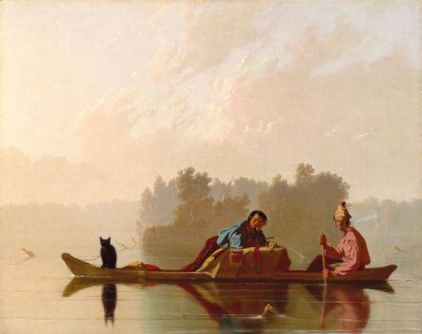 George Caleb Bingham, Fur Traders Descending the Missouri, 1845, o/c 29 x 36 1/2 in 73.7 x 92.7 cm