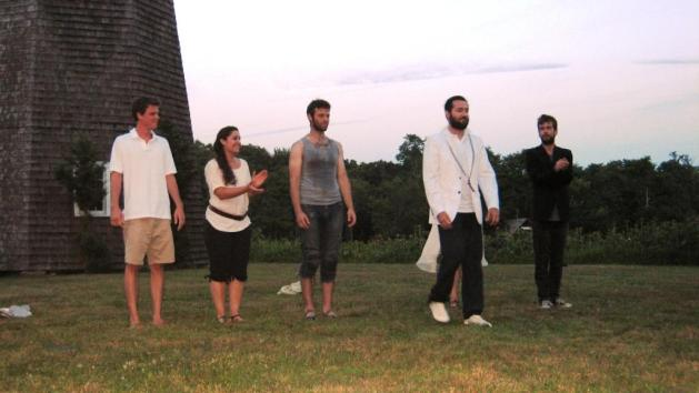 "David Gautchy takes a bow in the white jacket that ""makes him"" Prospero the Duke of Naples, with left to right Hal Fickett, Gina Fickett, Dave Shaw and, far right, Brendan Boland.  Jessica Giannone is (unfortunately, apologies Miss Giannone) behind David Gautchy, maybe because Ariel does disappear in the end.   Photo:  Robert Ruben"