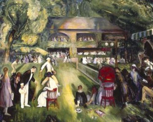 Tennis at Newport, 1920, oil on canvas, 43×54 in (109.2×137.2 cm) James W. and Frances McGlothlin