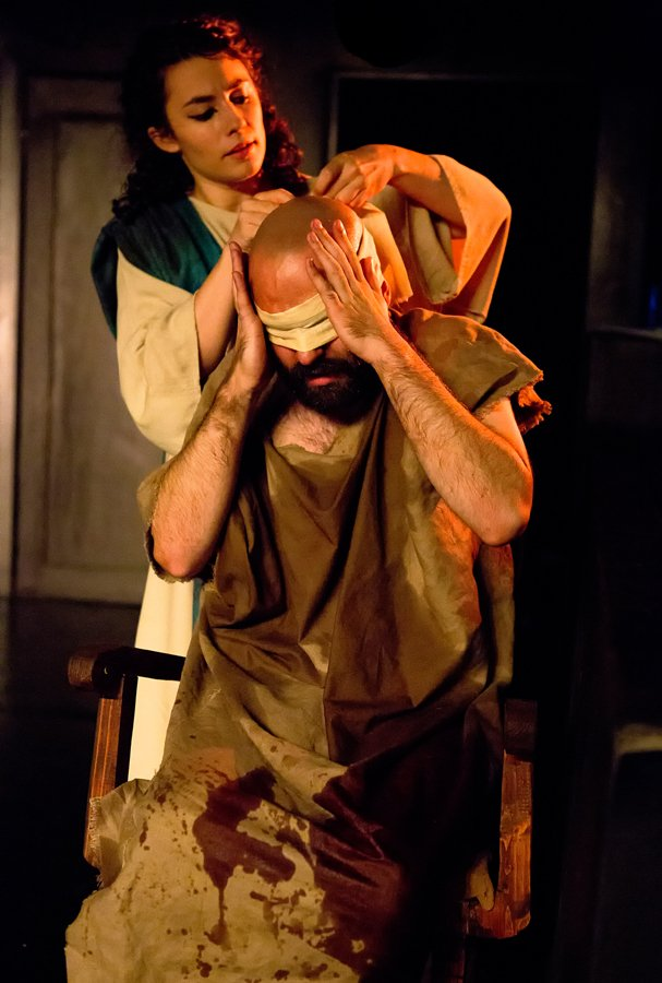 Sean McIntyre as Job with Marie-Claire Roussel as Esther. Photo by Hunter Canning