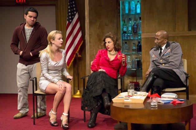 L-R Danny Rivera as Pedro, Ariel Woodiwiss as Lena, Kathy Najima as Phyllis, Reg E Cathey as Pontius.  Photo Hunter Canning