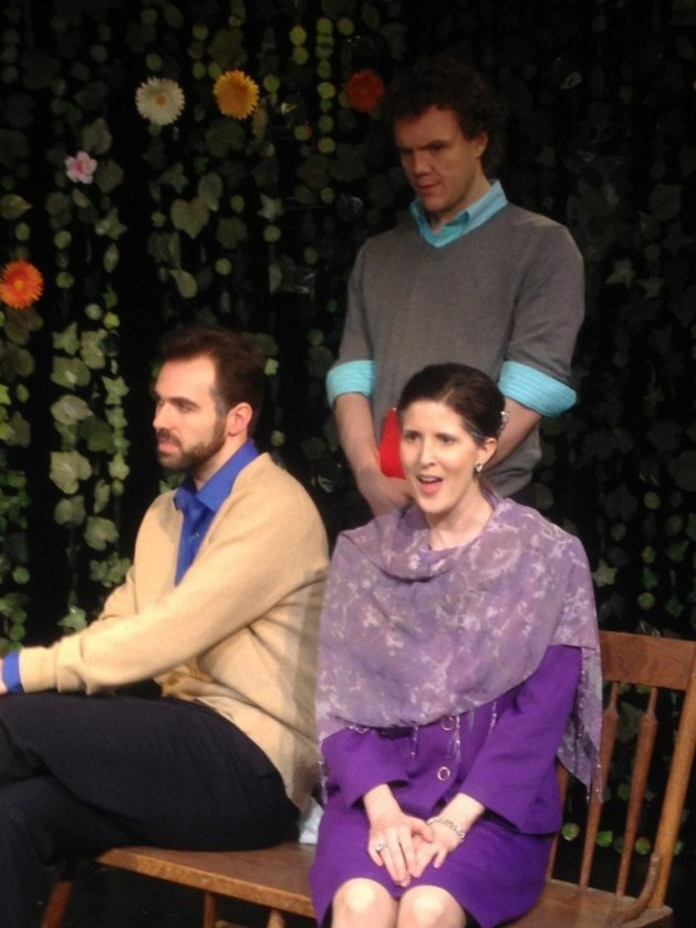 ONCE with, L, Joseph Robinson as Gonzalo, R, Carmella Clark as Dona Laura, with jBrandon Grimes, behind, as Gonzalo's servant. Photo: Louisa Pough