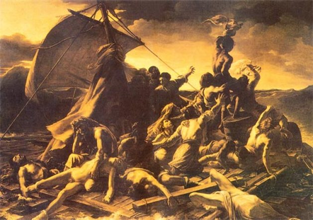 Adrift at sea: (below) Theodore Gericault (1791-1824) The Raft of the Medusa, 1819, oil on canvas, Paris: Louvre Museum, H. 4.91 m., W. 7.16 m