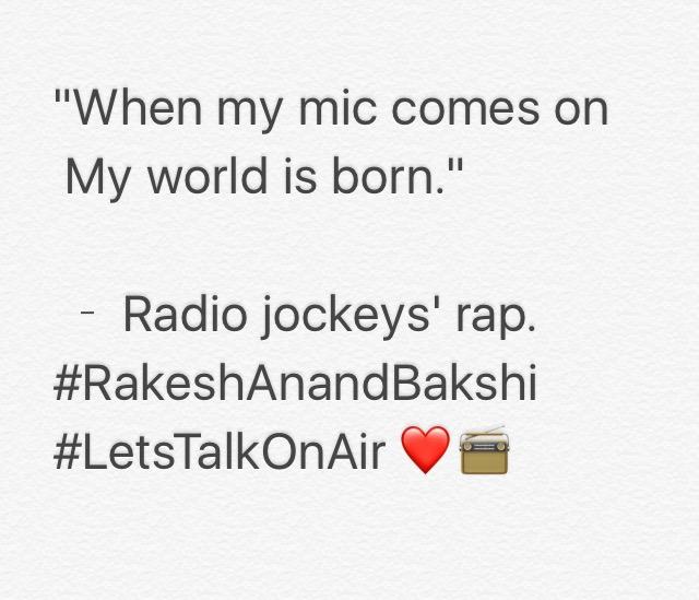 A radio jockeys' rap.