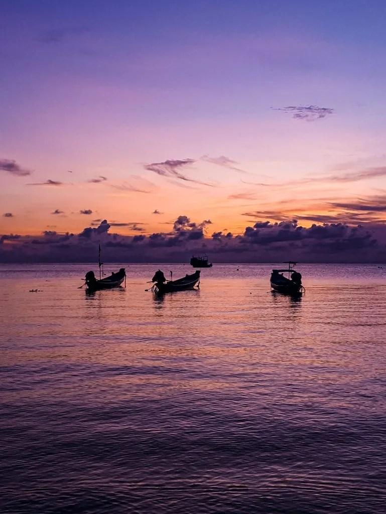 sunset at Sairee beach on Koh Tao, Thailand.