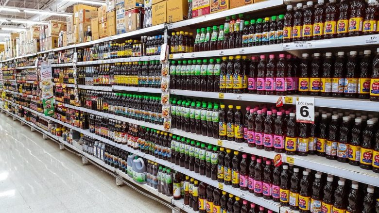Aisle in Thailand shops dedicated to all the different types of fish sauce