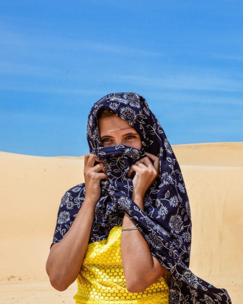 Chane exploring the white sand dunes in Mui Ne Vietnam