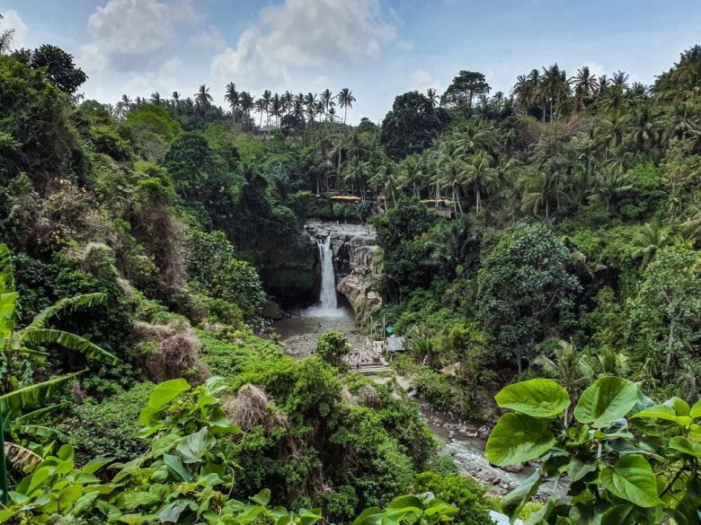 Tegenungan Waterfall from above in the center of Bali