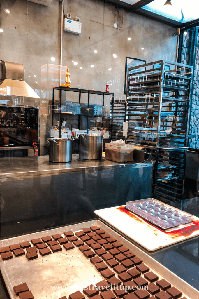 watch how delicious chocolate treats are made at the Chocolate Factory