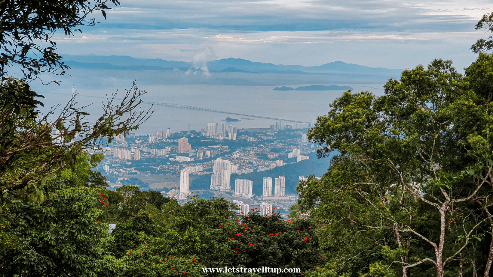view from Penang Hill just before sunset of George Town
