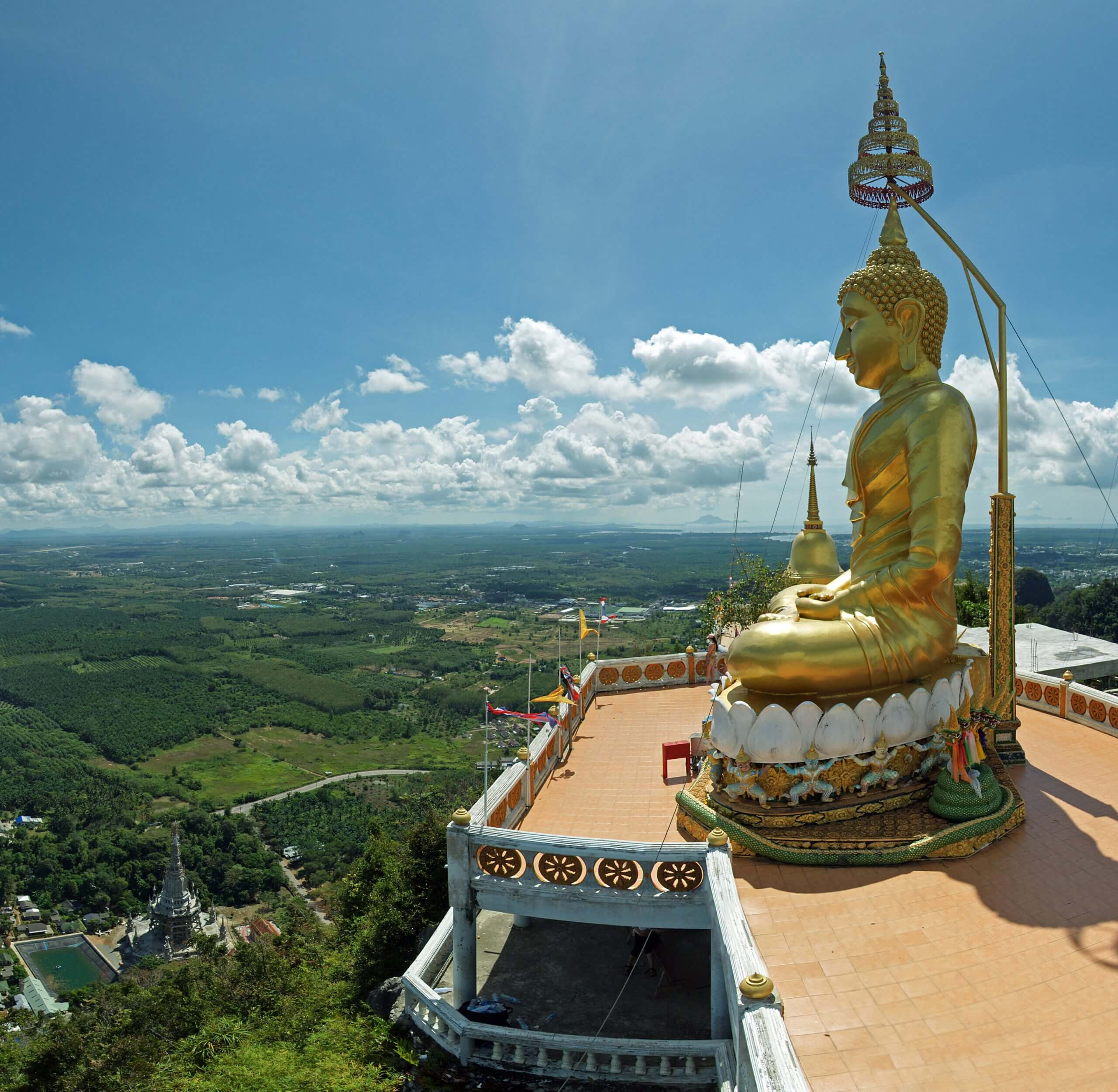 a view from on top of the tiger cave temple while on top of the mountain